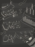 Design de carte de salutation de joyeux anniversaire dans le style de vintage avec le chalkb illustration de vecteur