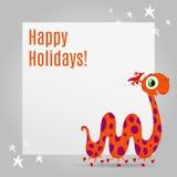 Design de carte de salutation de Noël avec le monstre mignon Images libres de droits