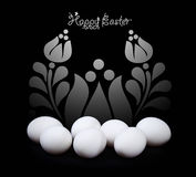 Design de carte de salutation de Pâques en noir et blanc Photographie stock libre de droits
