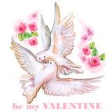 Design de carte de salutation de Saint-Valentin de saint Carte tirée par la main de Valentine d'aquarelle Soyez mon titre de Vale illustration de vecteur