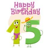 Design de carte de salutation de vecteur de joyeux anniversaire avec quinze caractères de nombre illustration libre de droits