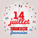 Design de carte de salutation pour bastille jour le 14 juillet Photographie stock libre de droits