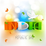 Design de carte de salutation pour la célébration indienne de jour de République Images stock