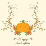 Design de carte de thanksgiving avec le potiron illustration de vecteur