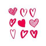 Design de carte de valentines d'art rouge de modèle de coeurs Image libre de droits