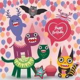 Design de carte drôle de partie de monstres de joyeux anniversaire illustration stock