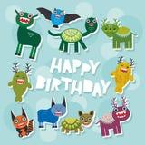 Design de carte drôle de partie de monstres de joyeux anniversaire Vecteur illustration libre de droits