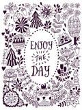 Design de carte floral, éléments de griffonnage de feuille Photographie stock libre de droits