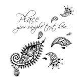 Design de carte floral, éléments de griffonnage Invitation décorative de vecteur Tiré par la main, ethnique, rétro, griffonnage,  Photographie stock libre de droits