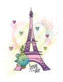 Design de carte floral d'amour avec le vecteur de Tour Eiffel Image libre de droits