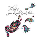 Design de carte floral Invitation décorative avec tiré par la main, ethnique, rétro, griffonnage, zentangle, éléments tribals Ill Photo libre de droits