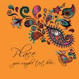 Design de carte floral Invitation décorative avec tiré par la main, ethnique, rétro, griffonnage, zentangle, éléments tribals Ill Photographie stock