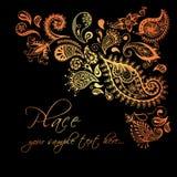 Design de carte floral Invitation décorative avec tiré par la main, ethnique, rétro, griffonnage, zentangle, éléments tribals Ill Photographie stock libre de droits