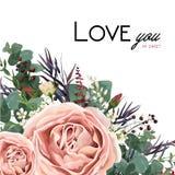 Design de carte floral de style d'aquarelle de vecteur : Goupille antique de lavande Photo libre de droits