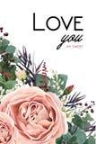 Design de carte floral de style d'aquarelle de vecteur : Goupille antique de lavande Images libres de droits