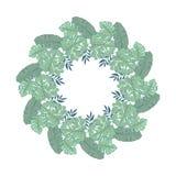 Design de carte floral de vecteur avec les feuilles exotiques vertes verdure élégante, forêt d'herbes ronde, mignon de guirlande  illustration de vecteur