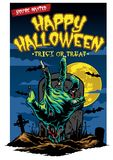 Design de carte de Halloween avec la main de zombi Images stock
