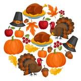 Design de carte heureux de jour de thanksgiving avec des vacances Images libres de droits