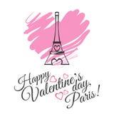 Design de carte heureux de salutation de célébration de jour de valentines avec Tour Eiffel Images libres de droits