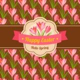Design de carte heureux de salutation de Pâques de vintage Images libres de droits