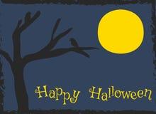 Design de carte heureux de Halloween, vecteur de bande dessinée de silhouette de corneilles illustration de vecteur