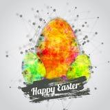 Design de carte heureux moderne de Pâques de vecteur avec lumineux Images libres de droits