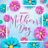 Design de carte heureux de salutation de jour de mères avec la fleur et éléments typographiques sur le fond bleu Célébration de v illustration de vecteur
