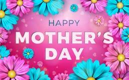Design de carte heureux de salutation de jour de mères avec la fleur et éléments typographiques sur le fond rose Célébration de v Photo stock
