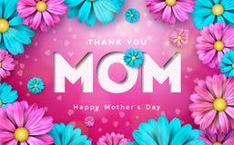 Design de carte heureux de salutation de jour de mères avec la fleur et éléments typographiques sur le fond rose Je t'aime vecteu Images libres de droits