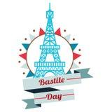 Design de carte heureux de salutations de jour de bastille 14 juillet illustration créative de vecteur de Frances vive de La de J illustration de vecteur