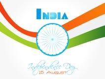 Design de carte indien de salutation de Jour de la Déclaration d'Indépendance avec la vague tricolore Photos stock