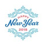 Design de carte de inscription de salutation de la bonne année 2018 Image stock