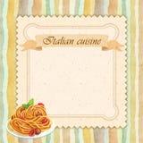 Design de carte italien de menu de restaurant de cuisine dans le style de vintage Photos libres de droits