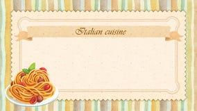 Design de carte italien de menu de restaurant de cuisine dans le style de vintage Images stock