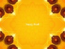 Design de carte jaune de couleur pour le festival de Diwali avec de belles lampes Photo stock