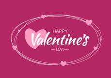 Design de carte de jour de valentines Griffonnez les lignes ovales avec le lettrage d'isolement sur le fond pourpre lumineux avec Photos libres de droits