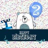 Design de carte de joyeux anniversaire pour le bébé de deux ans illustration stock