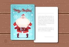Design de carte de Joyeux Noël avec le texte de Santa Claus Image And Space Fot au-dessus du fond en bois de texture Photographie stock