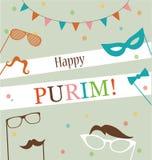 Design de carte juif de salutation de hippie de Purim de vacances illustration libre de droits