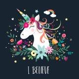 Design de carte de licorne avec les éléments tirés par la main illustration stock