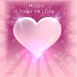 Design de carte lumineux d'affiche de coeur de jour du ` s de Valentine fond 14 février abstrait Photo libre de droits
