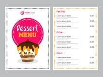Design de carte de menu de dessert illustration stock