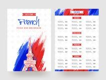 Design de carte de menu français de nourriture et de boisson illustration libre de droits