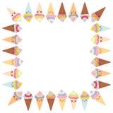 Design de carte pour votre texte, calibre de bannière avec le cadre carré, cône drôle de gaufre de crème glacée de Kawaii, museau Photo stock