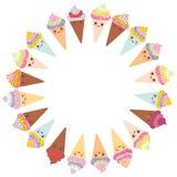 Design de carte pour votre texte, calibre de bannière avec le cadre rond, cône drôle de gaufre de crème glacée de Kawaii, museau  Photo libre de droits