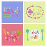 Design de carte sain de nourriture fraîche de menu d'enfants de bannière de vecteur de restaurant réglé tiré par la main organiqu illustration stock