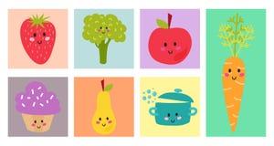 Design de carte sain de nourriture fraîche de menu d'enfants de bannière de vecteur de restaurant réglé tiré par la main organiqu illustration libre de droits