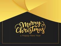 Design de carte de salutation élégant pendant des vacances d'hiver Lettrage de Joyeux Noël et de bonne année avec le fond abstrai illustration libre de droits