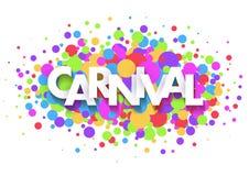 Design de carte de salutation de carnaval avec les lettres coupées de papier et les confettis colorés sur le fond blanc Illustrat illustration libre de droits