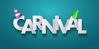 Design de carte de salutation de carnaval avec les lettres et les cônes coupés de papier de partie sur le fond azuré Illustration illustration stock